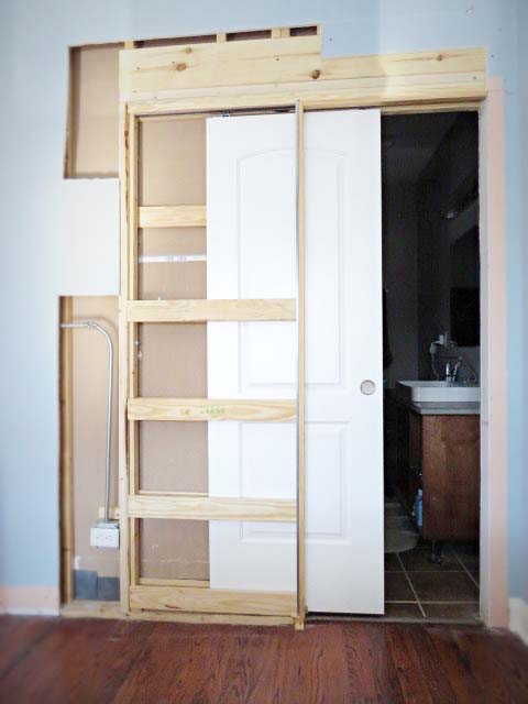 Becky's custom install of a pocket door.