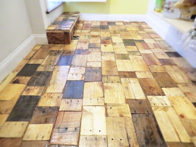 Pantry Pallet Wood Floor Project