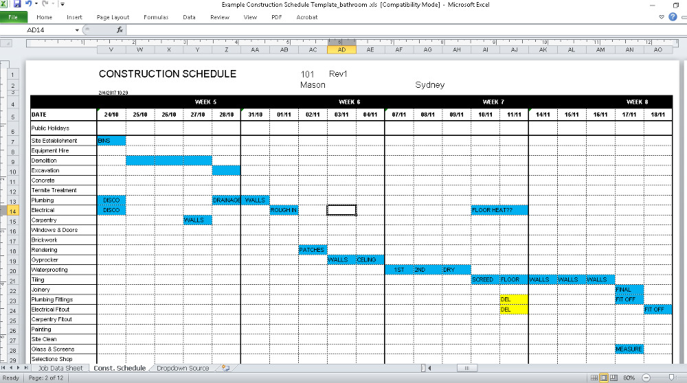 building work schedule template construction schedule template renovation junkies