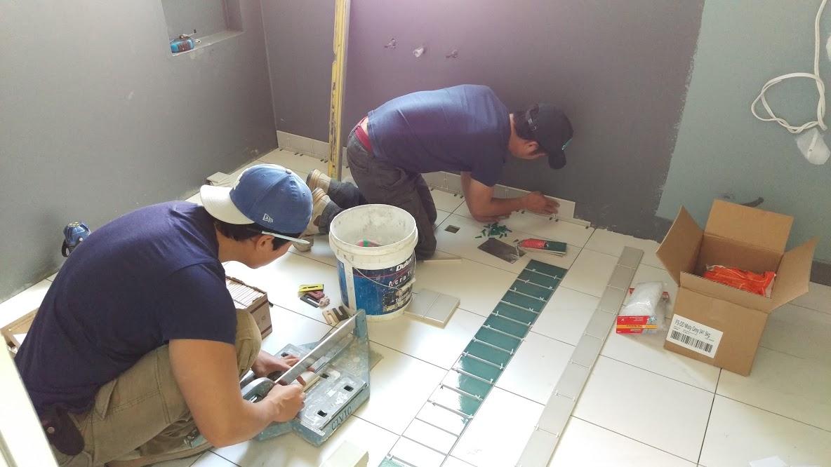 bathroom tiling floor